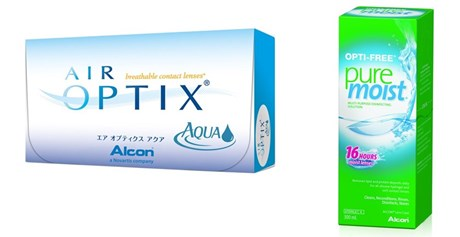 Alcon Air Optix Aqua leće i Opti Free Pure Moist otopina